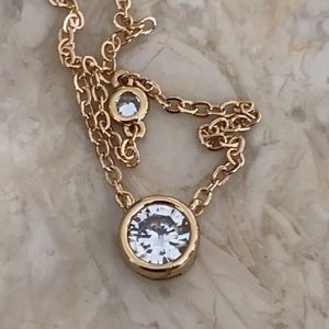 Kenneth Jay Lane Gold Plated 1 Carat CZ Necklace